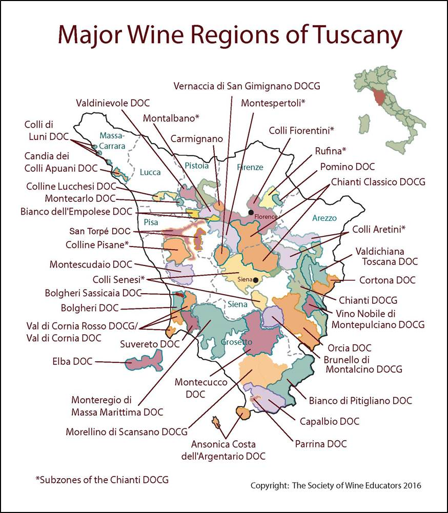 Tuscany Italy SWE Map Wine Wit And Wisdom - Map tuscany