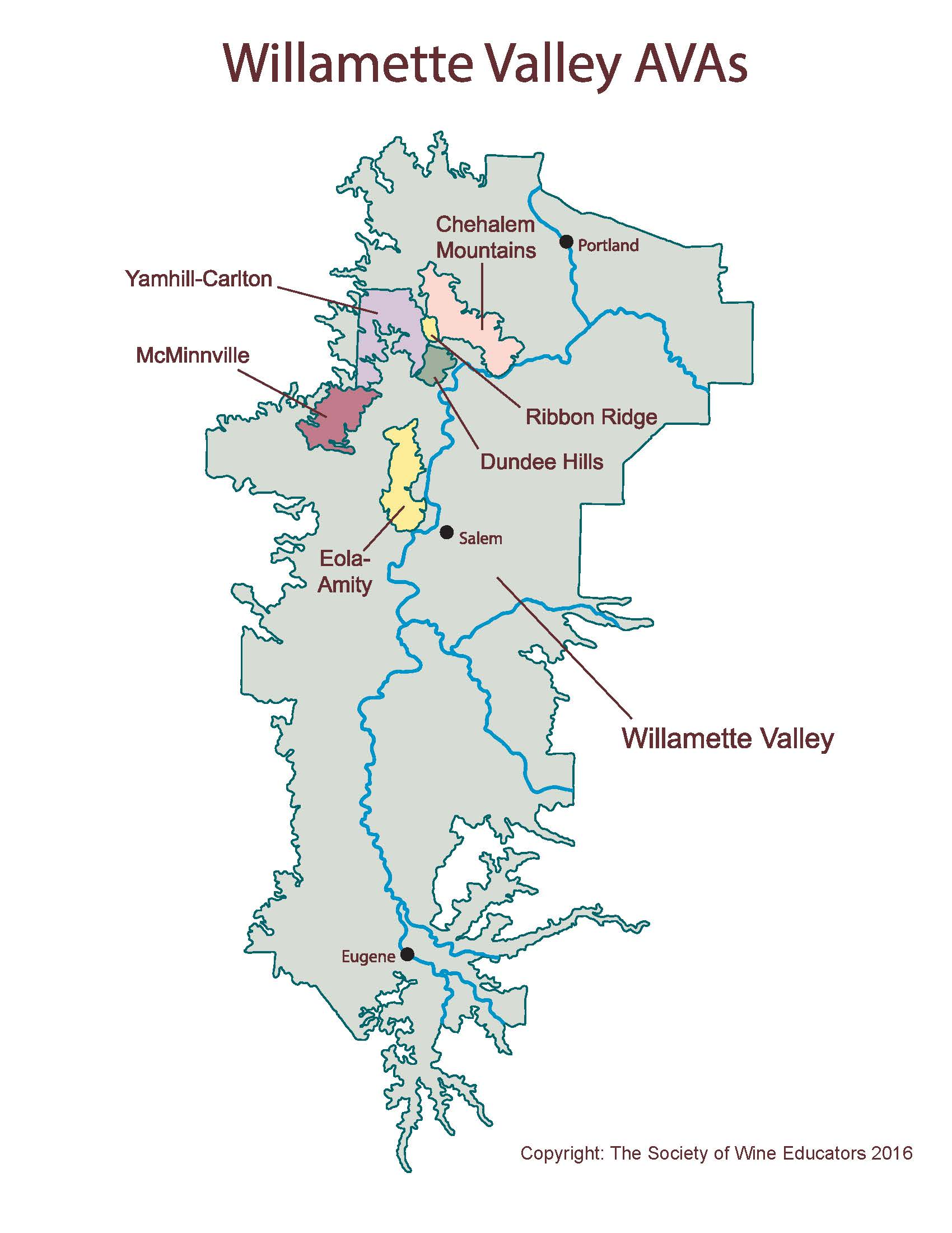 Image result for map of willamette valley ava