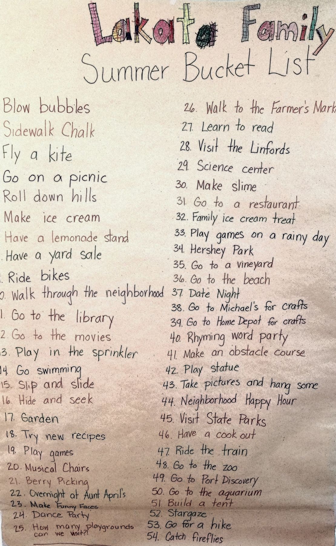 A Summer Bucket List for the Family