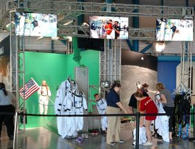 This doesn't help the conspiracy theorist that say the moon landing was really staged. You too now get your picture on the moon, at NASA's visitor center, using green screen.