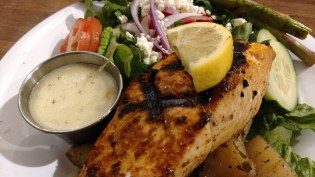 The grilled salmon, even though not fresh but from frozen, was very good at Tazikis Cafe, Germantown, TN