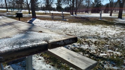 Snow on table at Hoffman Park, River Falls, WI