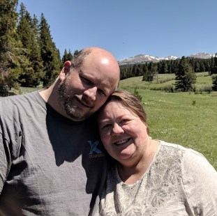 Jason and Barb at Sitting Bull Park in the Big Horn Mountains and National Forest of Wyoming