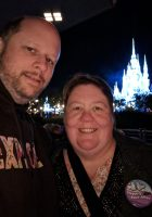 Sporting our pins for our 20th anniversary at the Tomorrowland Terrace enjoying the Happily Ever After Fireworks and Dessert Party.