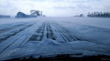 Winter storm squalls across the highway in Wisconsin