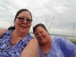 Deina (left) and Barb at Cocoa Beach, Florida