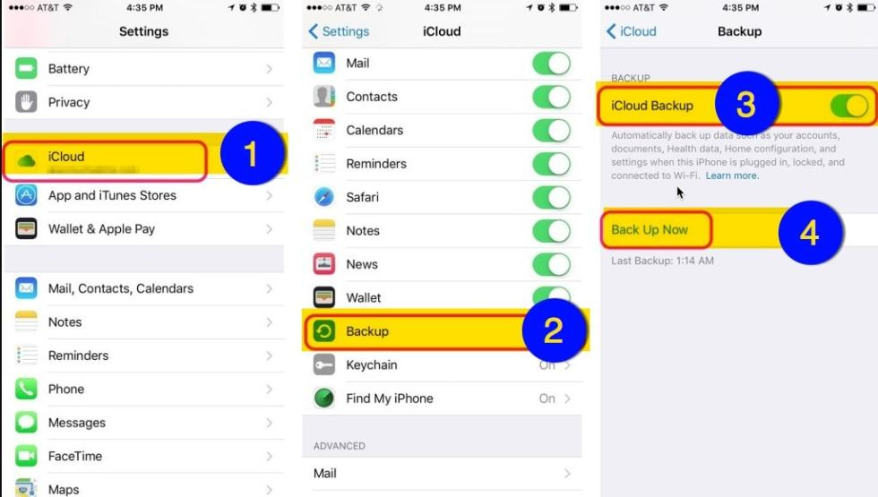 عمل نسخة احتياطية للايفون icloud