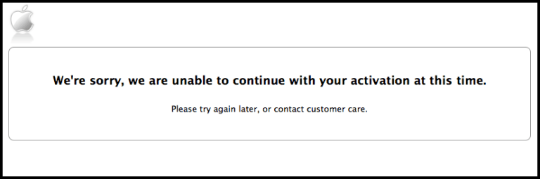 حل مشكلة we're sorry we are unable to continue with your activation at this time