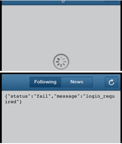 status fail message login_required instagram