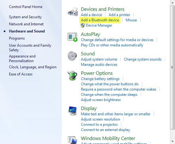 تشغيل البلوتوث في ويندوز 7 -3