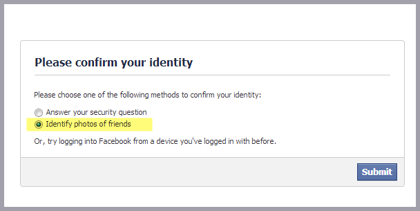 please confirm your identity facebook problem