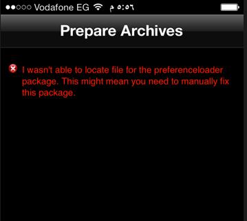 prepare archives cydia error fix