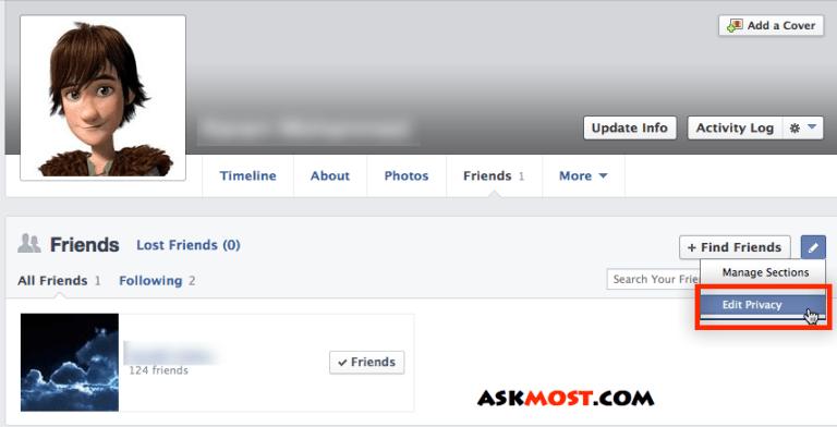 اخفاء الاصدقاء في الفيس بوك عن الجميع