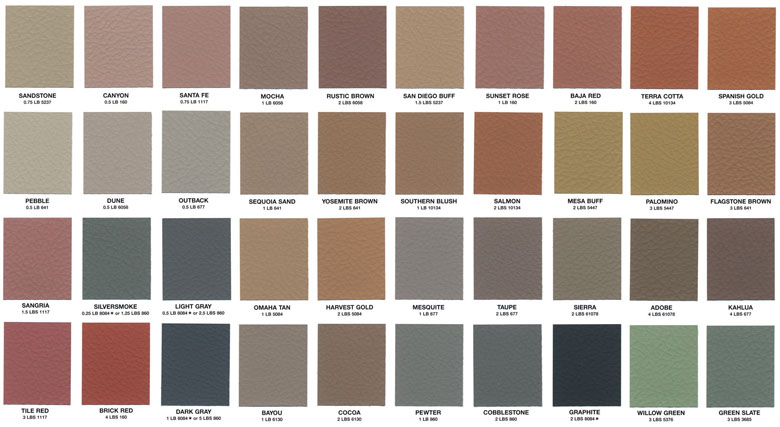 Stain Colors Concrete Color Chart