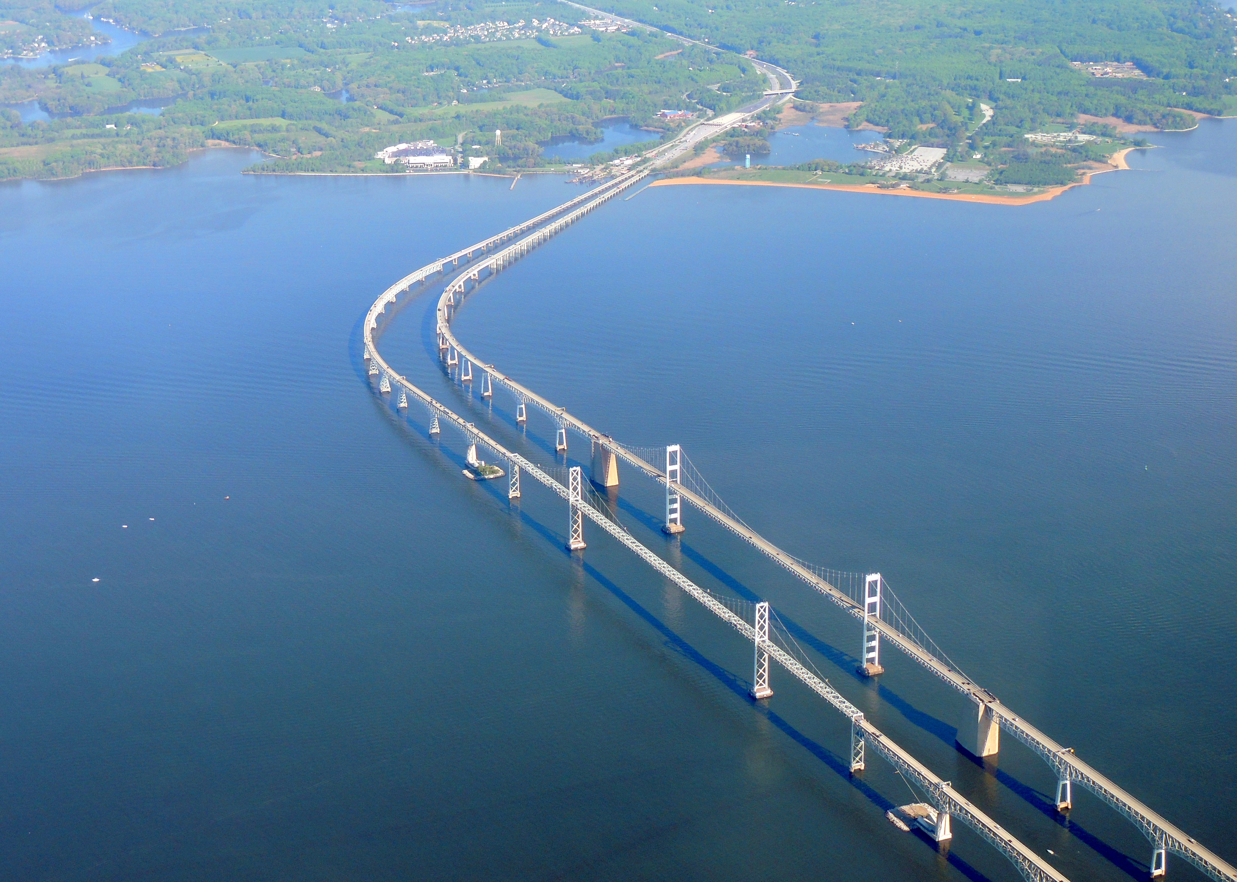 Flying over the Twin Bay Bridges (Chesapeake Bay) Maryland