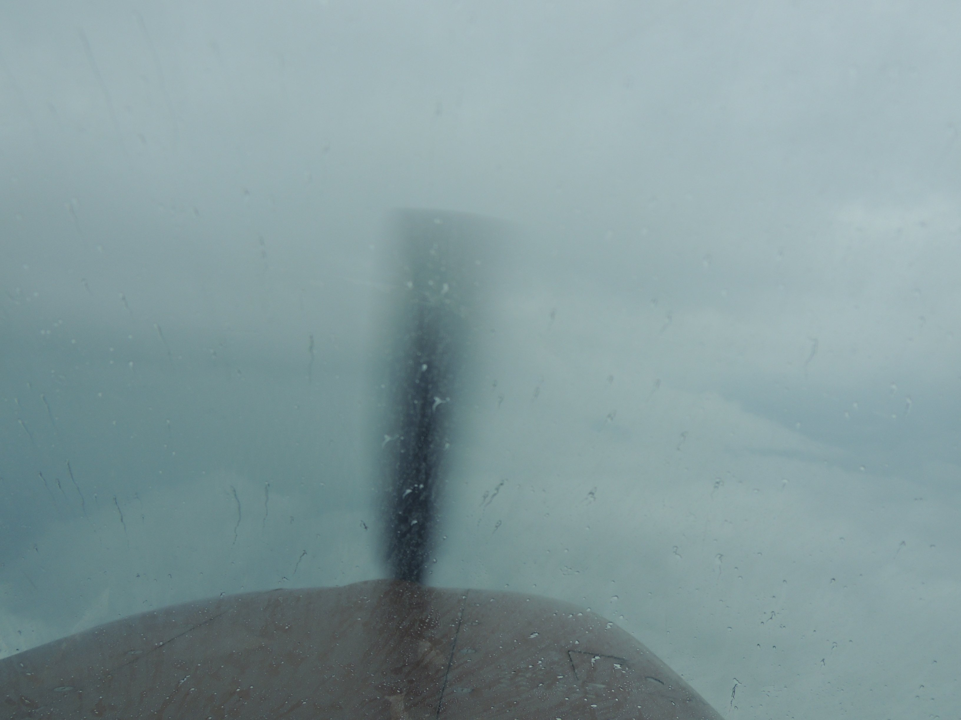 Our view out the front flying thru weather comming home