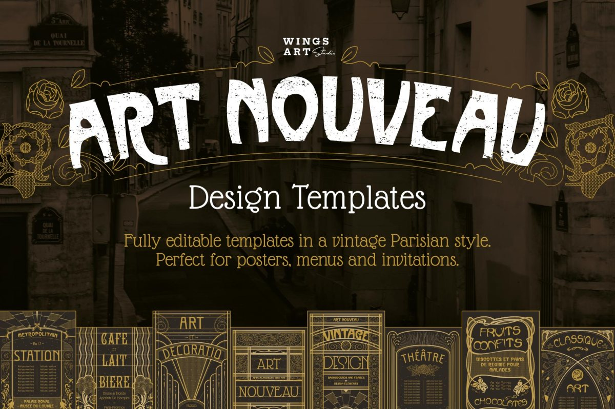 Art Nouveau Design Templates by Wingsart