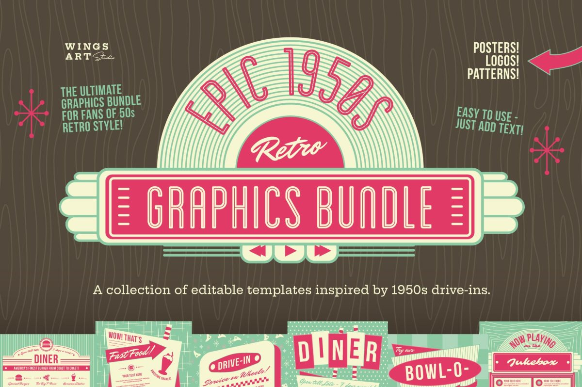 1950s Diner Graphics Bundle by Wingsart Studio