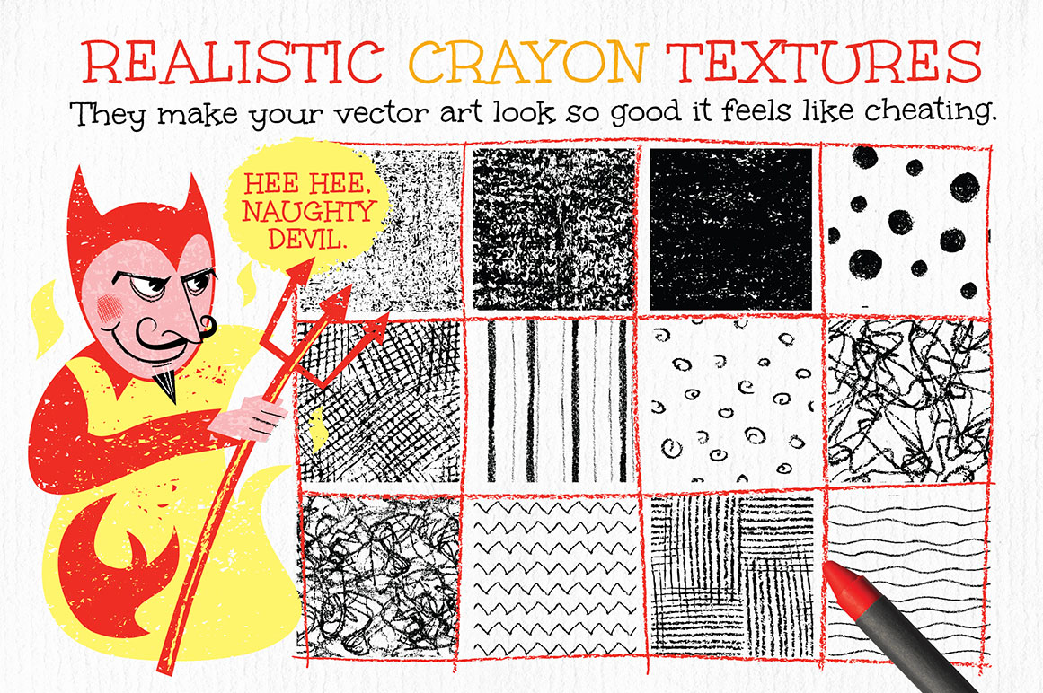 Crayon Textures and Patterns for Adobe Illustrator