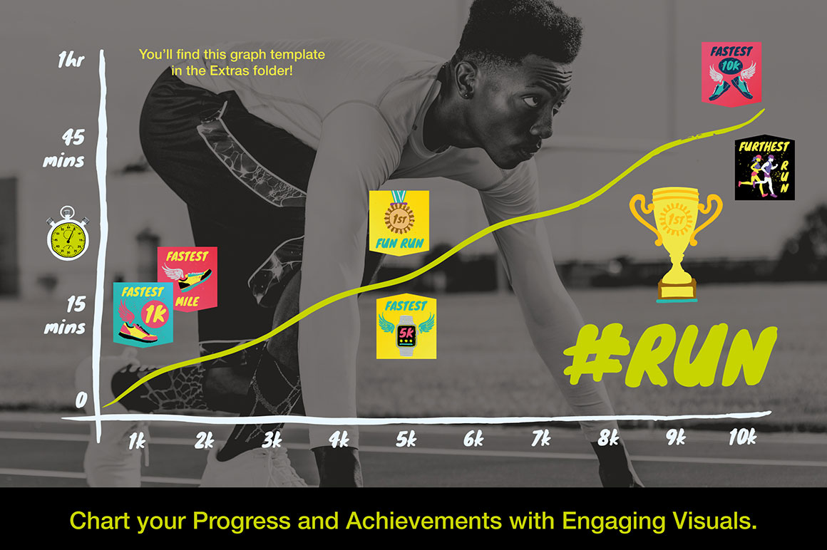 Running and Fitness Achievement Graphics
