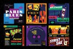 Musical: Design Templates and Illustrations inspired by Classic Hollywood and Cool Jazz