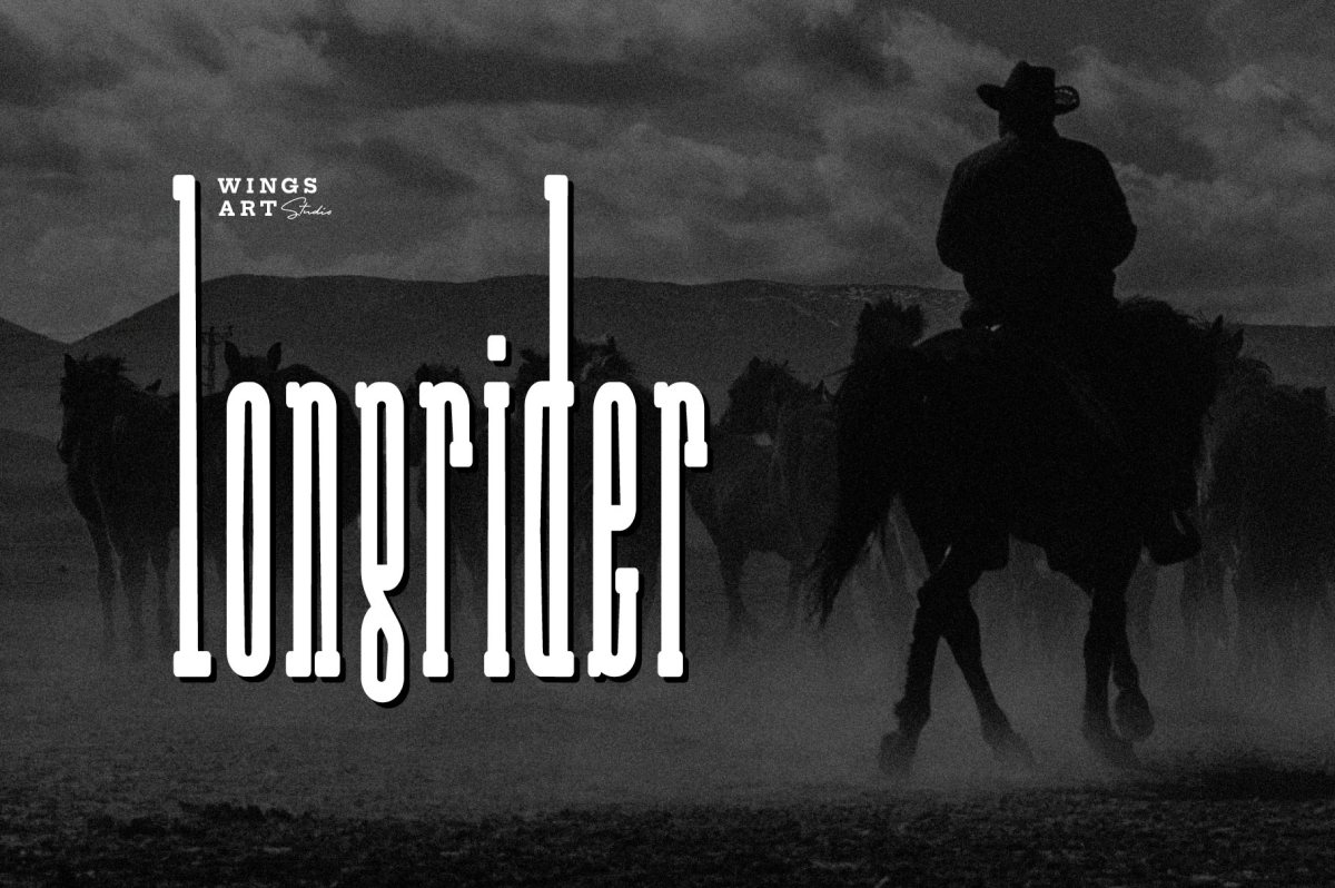 Long Rider - The Compressed Slab Cowboy Font