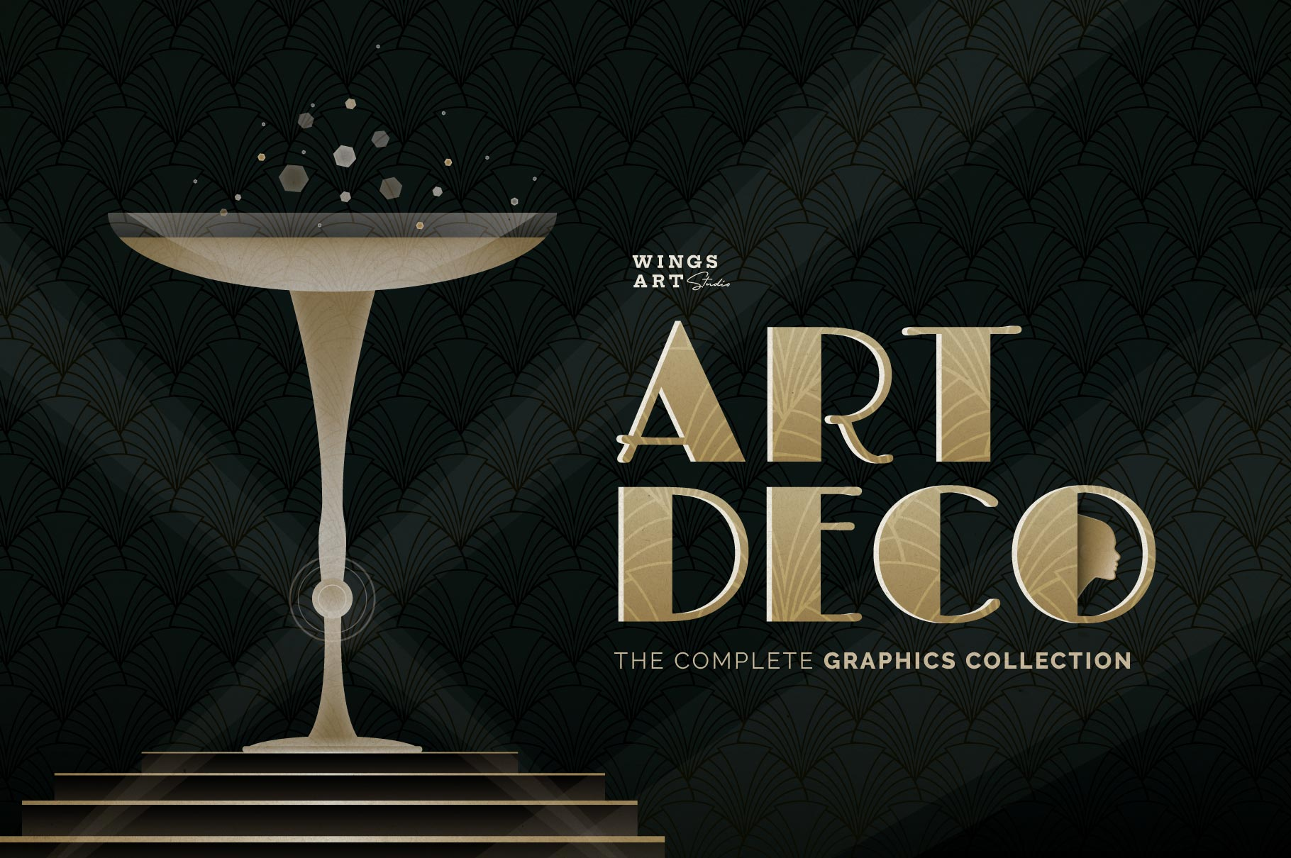 Vintage Art Deco Graphics Collection by Wing's Art Studio