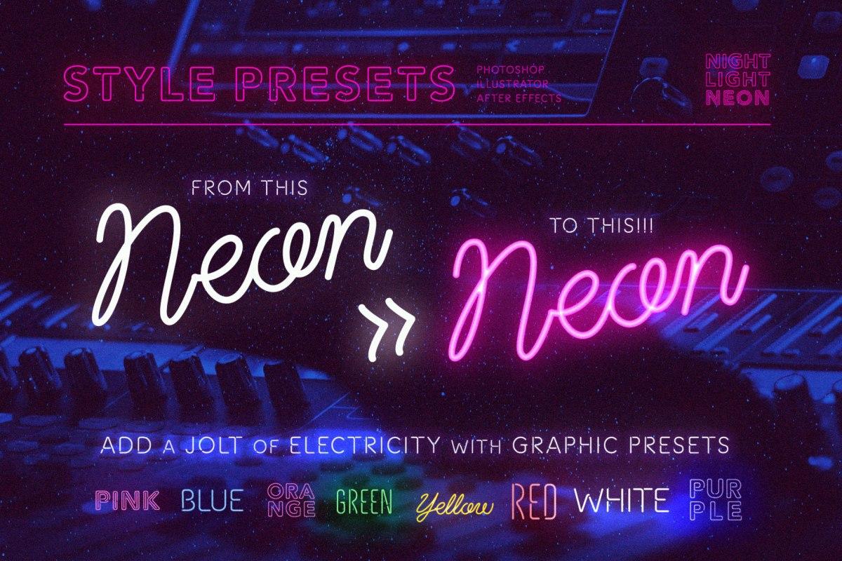 Neon Font - Script by Wing's Art Studio