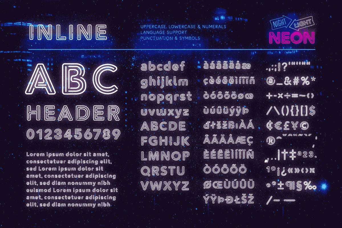 Retro Neon Font Collection Inline Style