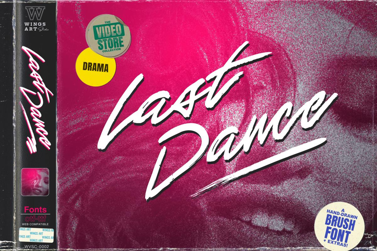 Last Dance Retro 80s VHS Script Font by Wing's Art Studio