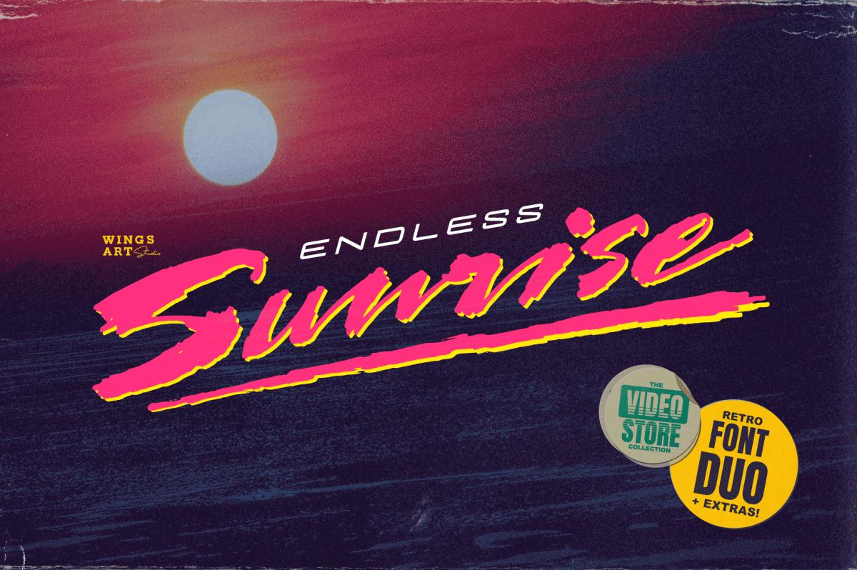 Endless Sunrise 80s VHS Cover Font