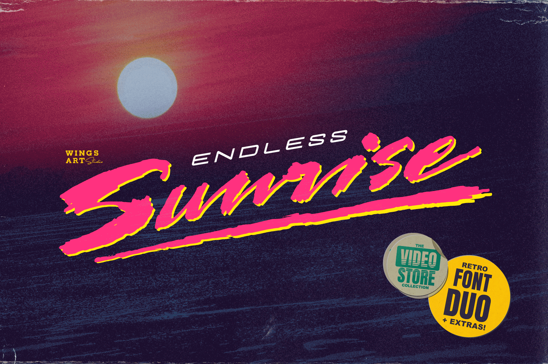 Endless Sunrise 80s VHS Cover Font