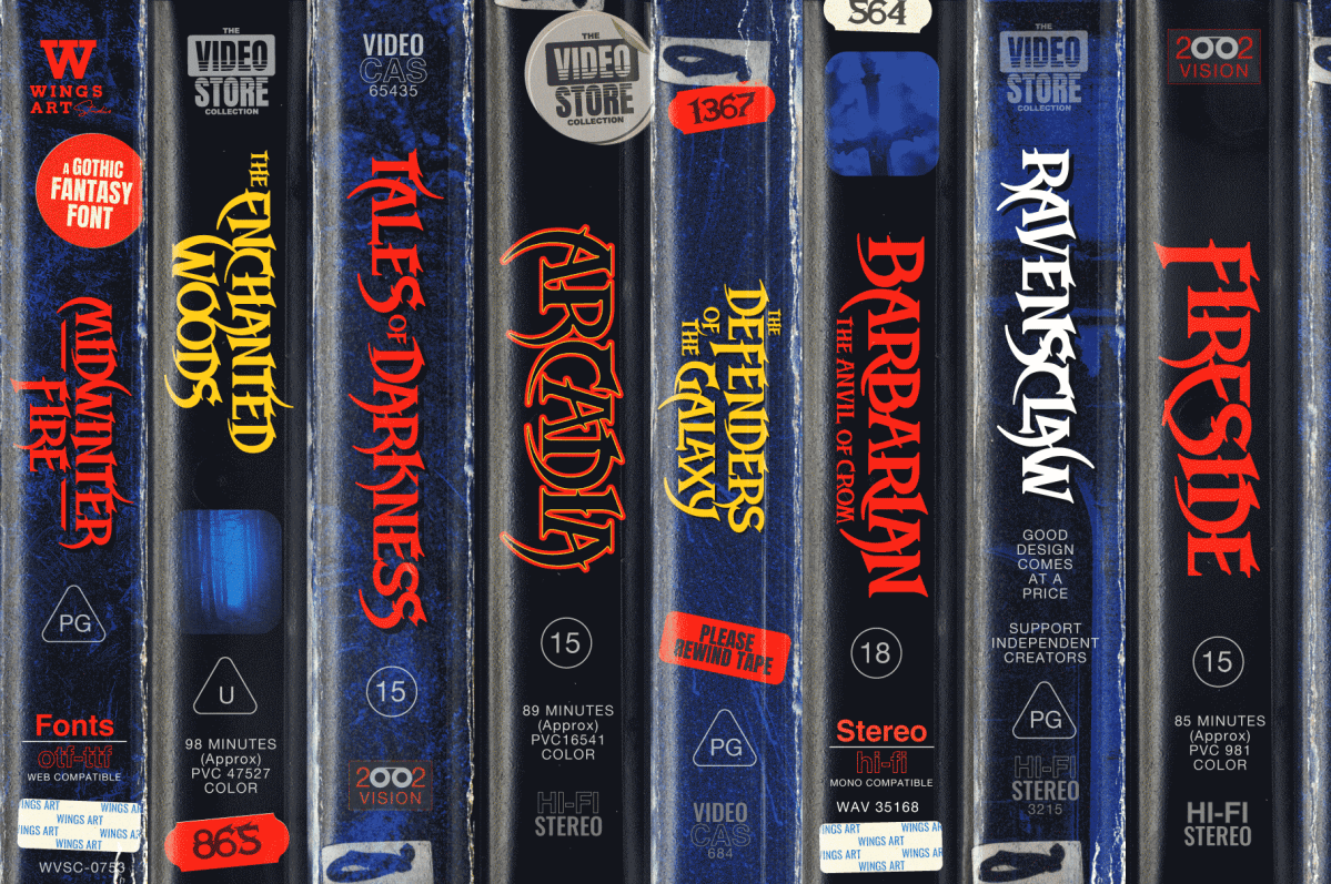 Retro VHS Fonts by Christopher King at Wingsart Studio