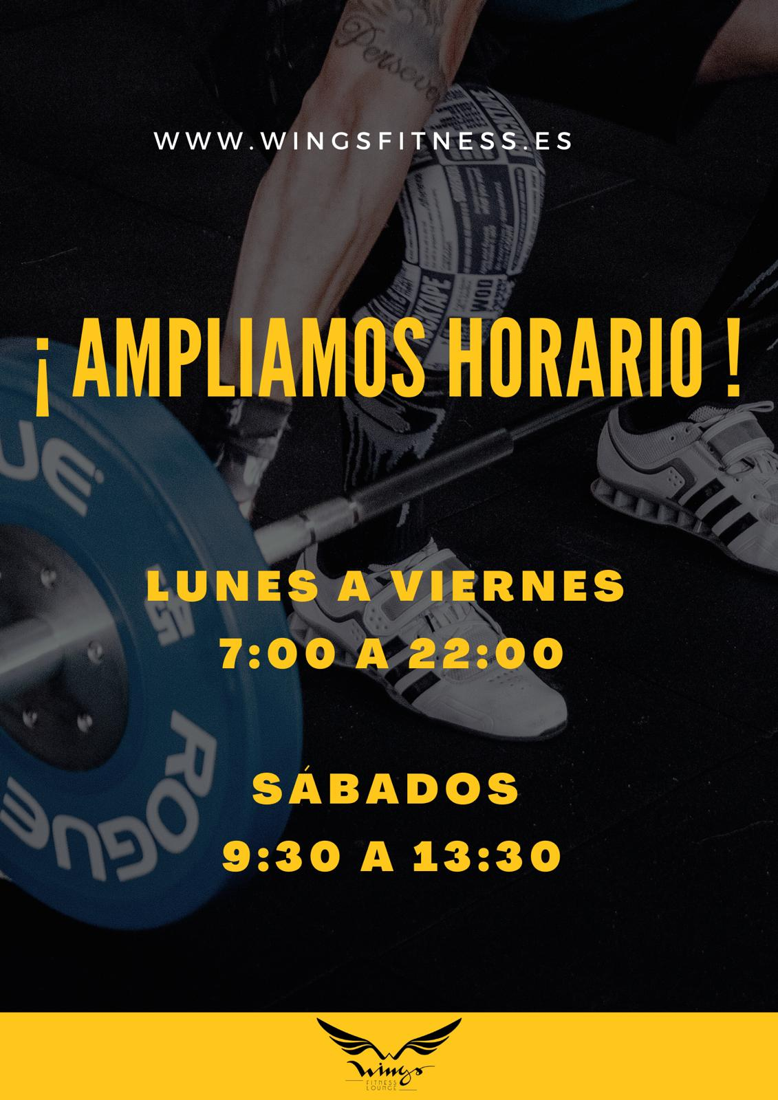Ampliamos horario - Wings Fitness Lounge Valterna