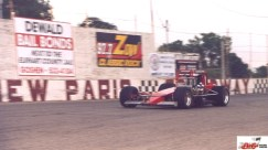 Rod Rothgarn heads down the backstretch of New Paris Speedway in his supermodified.