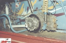 Here's the cause of the crash. Doug Saunier's left rear hub on the Lichty supermodified. (B&G Racing Photos)