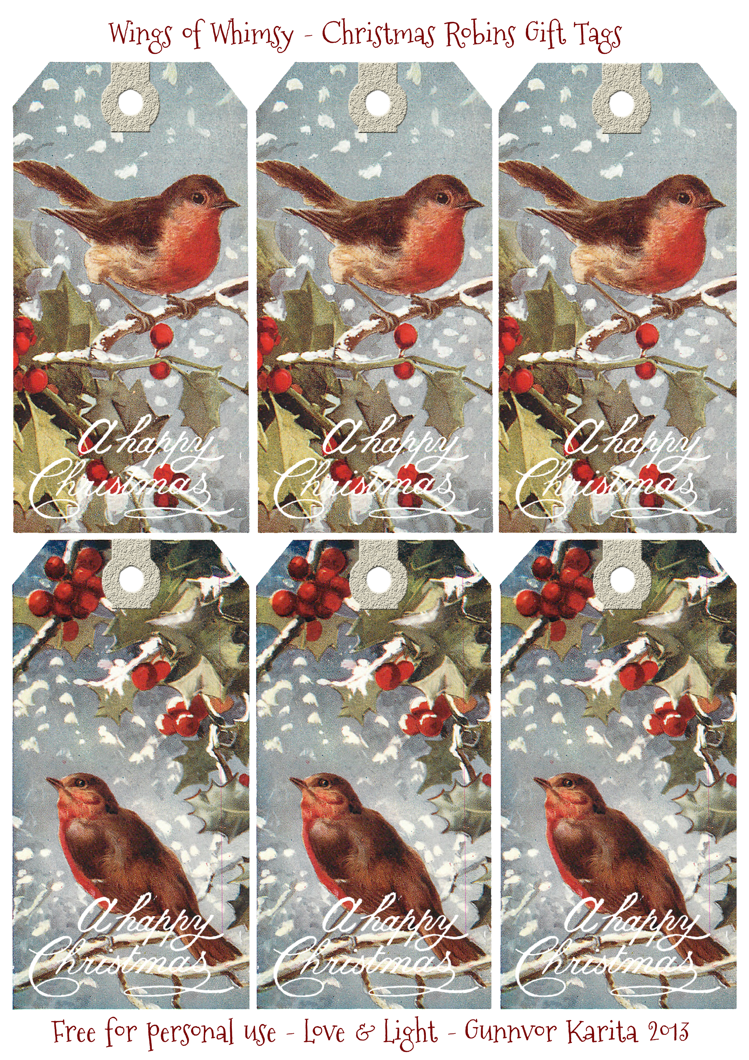 Christmas Robins Free Printable T Tags Wings Of Whimsy