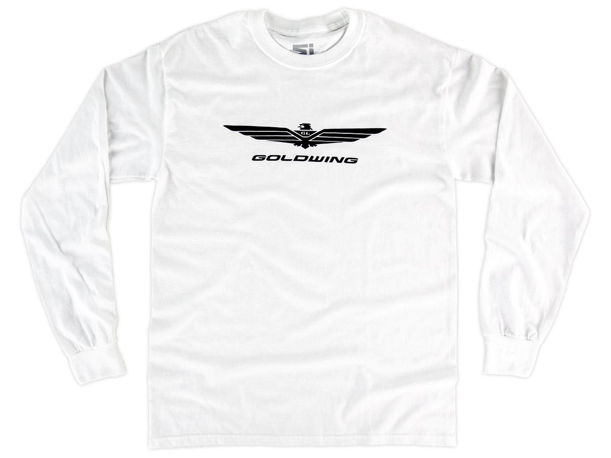 Mens Basic White Long Sleeve Shirt w/Goldwing Logo