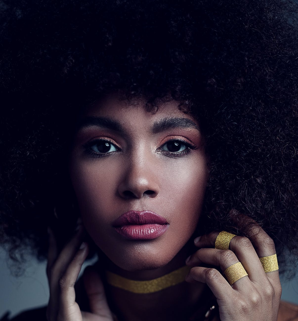 gorgeous young black woman with afro hair