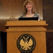 Photo of video game music composer Winifred Phillips giving a lecture at the Library of Congress (Whittall Pavilion, Thomas Jefferson Building, Washington DC). Winifred Phillips' lecture was the first video game music composition lecture given at the Library of Congress.