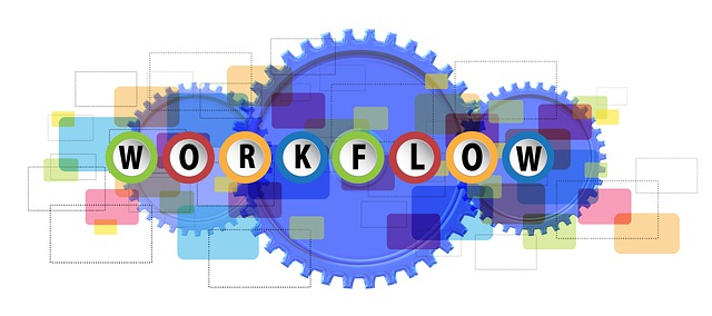 """An iconic illustration of the """"workflow"""" concept, as used in the article by Winifred Phillips (video game music composer)."""