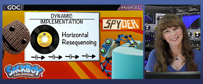 From the GDC 2021 presentation of video game composer Winifred Phillips, this image depicts the section of Phillips' lecture discussing horizontal resequencing in both the Spyder and Sackboy: A Big Adventure videogames.
