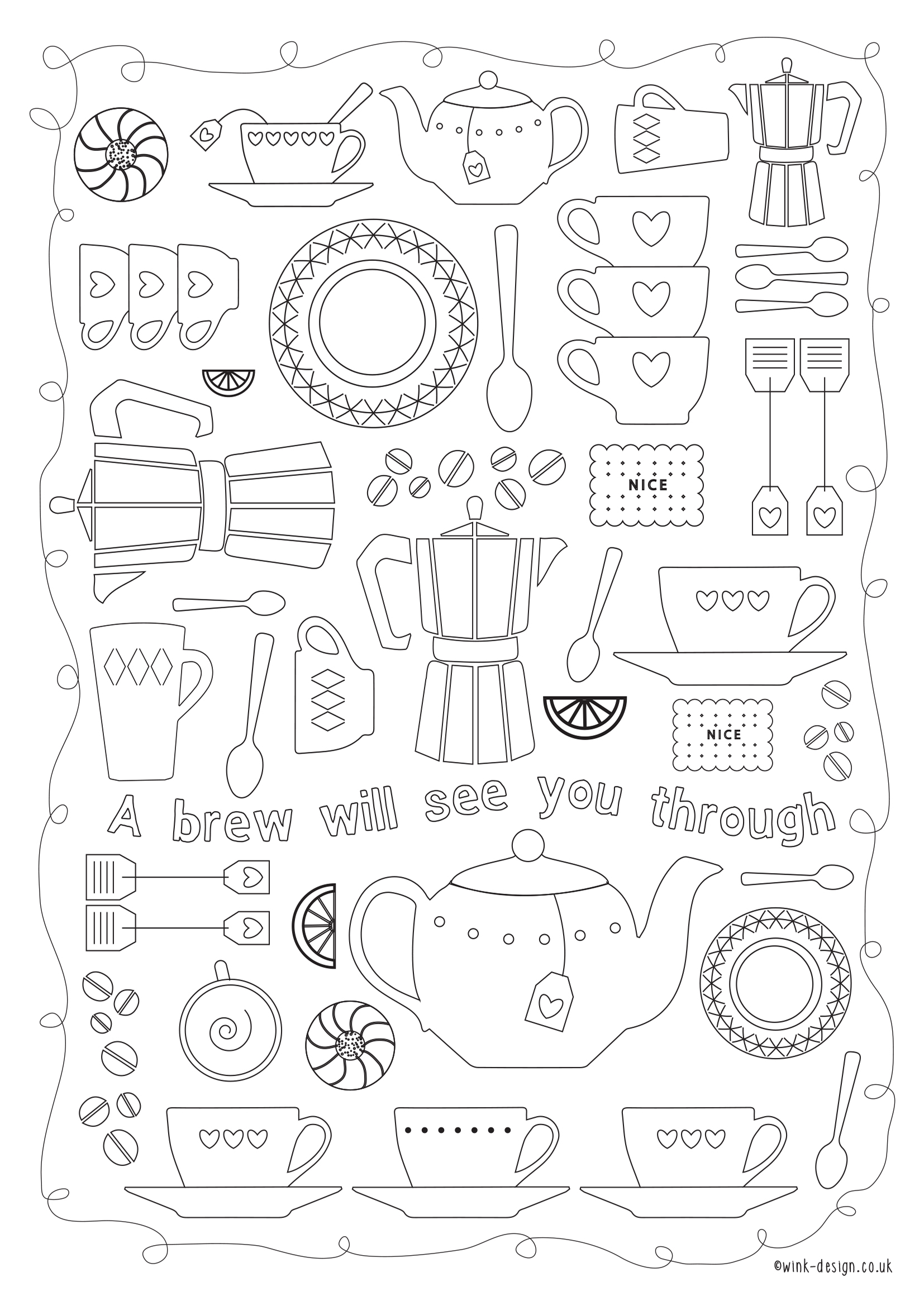 Free printable adult colouring pages for the New Year