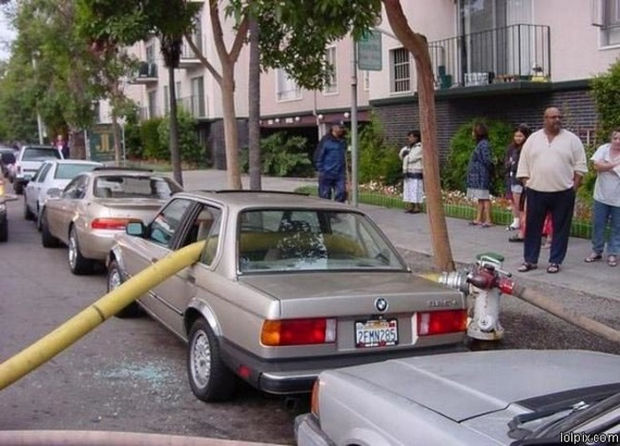 22 Bad Parking Jobs - They never got them memo about NOT parking in front of a fire hydrant.