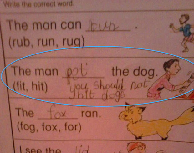 29 Funny Test Answers - The man pet the dog.
