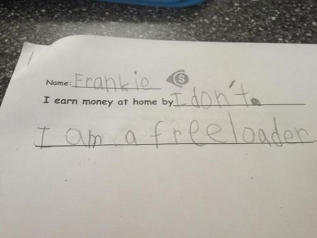 29 Funny Test Answers - I earn money at home by...