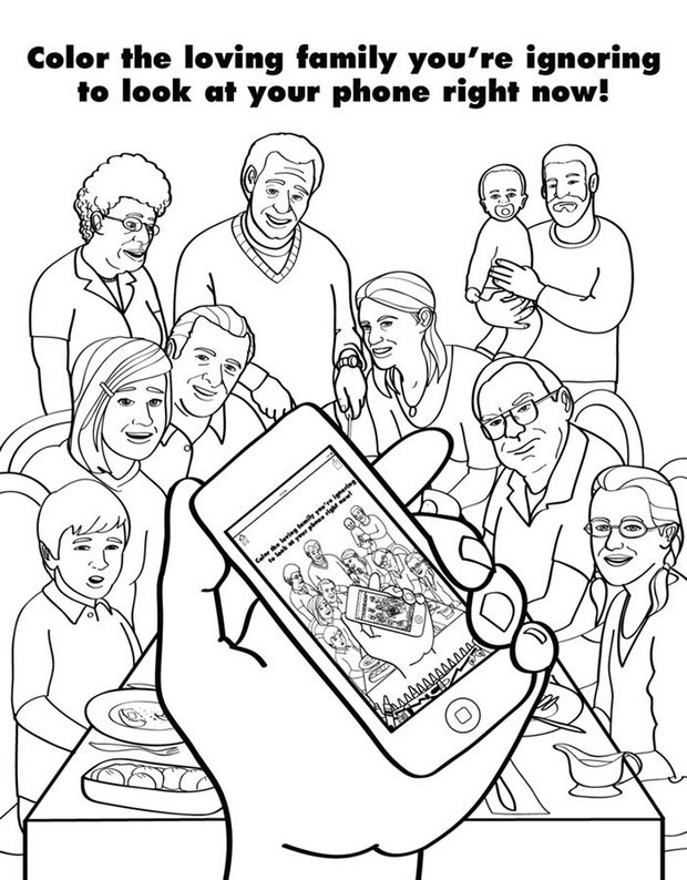Coloring Books for Grownups - Color the loving family you're ignoring to look at your phone right now!