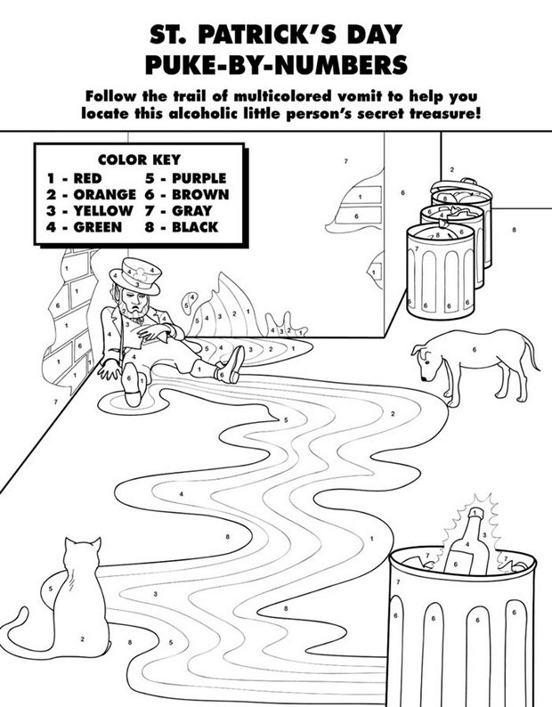 Coloring Books for Grownups - St. Patrick's Day puke-by-numbers