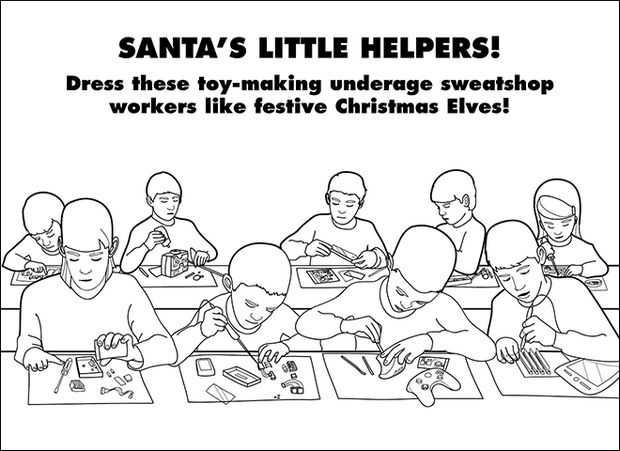 Coloring Books for Grownups - Santa's little helpers!