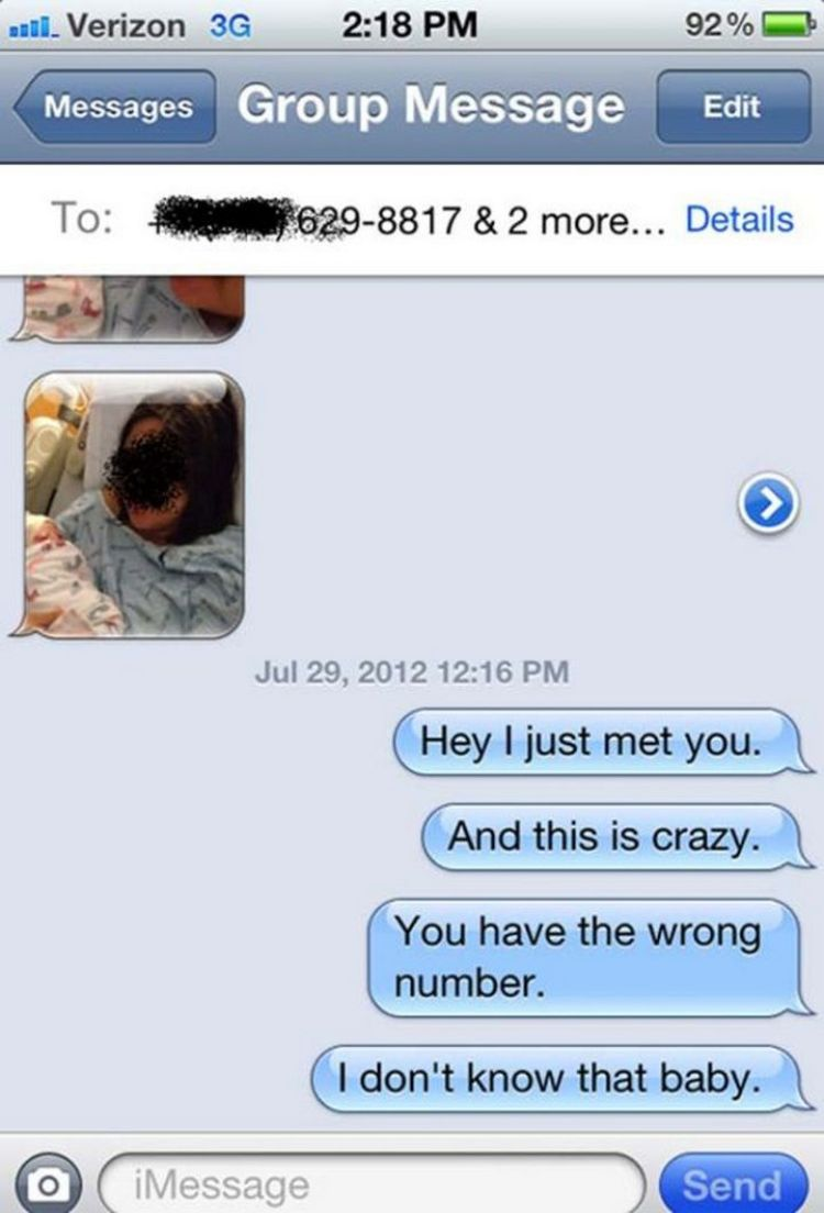 "16 Funny Wrong Number Texts - ""You gotta see the baby!"""